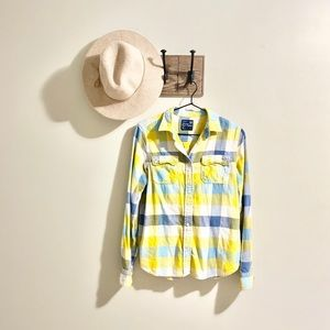 American Eagle | Yellow/Blue Flannel